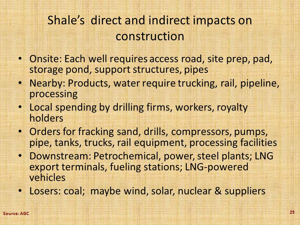Shales direct and indirect impacts on construction Onsite: Each well requires access road, site prep, pad, storage pond, support structures, pipes Nearby: Products, water require trucking, rail, pipeline, processing Local spending by drilling firms, workers, royalty holders Orders for fracking sand, drills, compressors, pumps, pipe, tanks, trucks, rail equipment, processing facilities Downstream: Petrochemical, power, steel plants; LNG export terminals, fueling stations; LNG-powered vehicles Losers: coal; maybe wind, solar, nuclear & suppliers 25 Source: AGC
