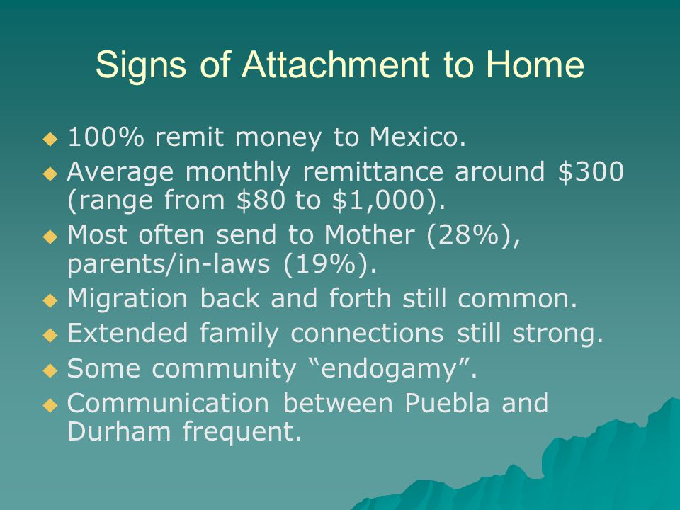 Signs of Attachment to Home 100% remit money to Mexico.