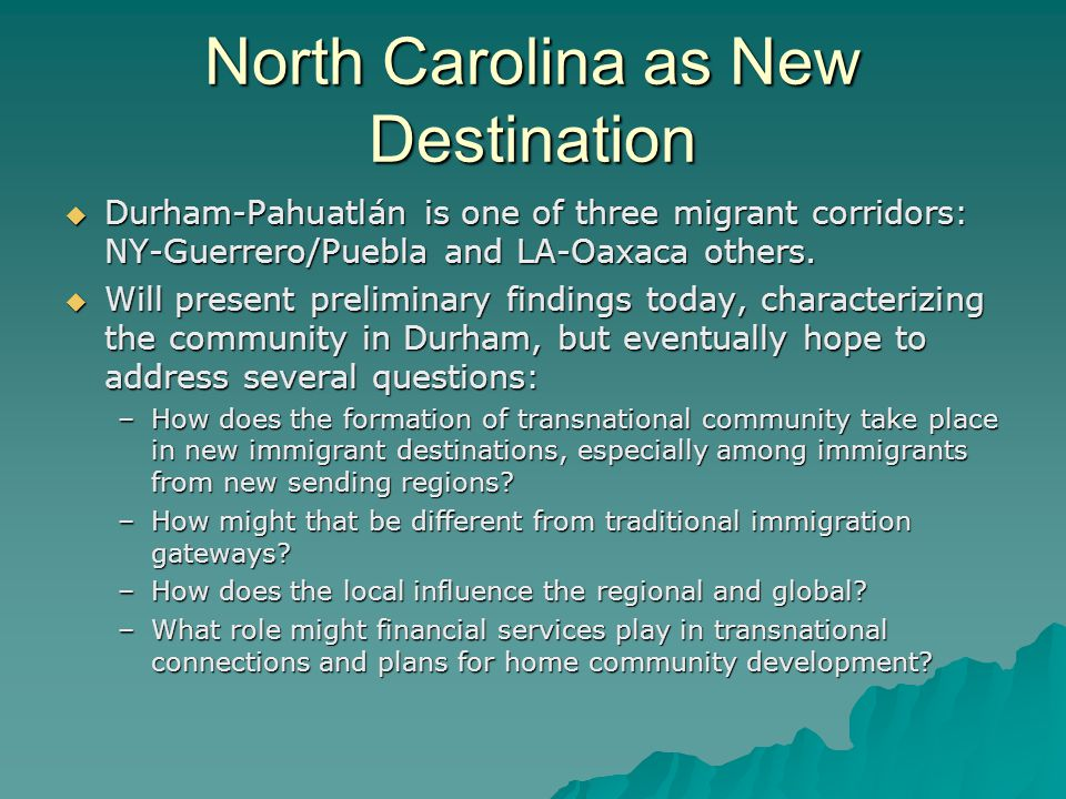 Brief History of Latino Settlement in North Carolina Latino settlement traces its origins to changes in Texas & Florida agriculture and rural communities of the 1960s.