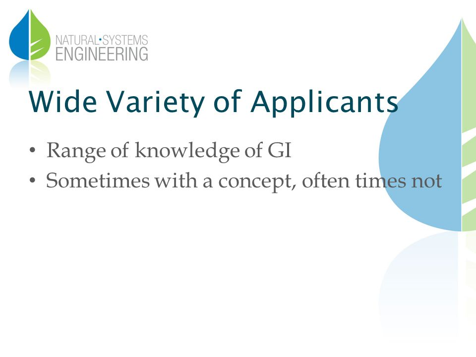 Wide Variety of Applicants Range of knowledge of GI Sometimes with a concept, often times not