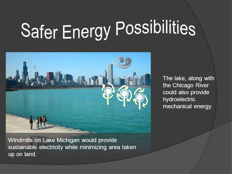 Windmills on Lake Michigan would provide sustainable electricity while minimizing area taken up on land. The lake, along with the Chicago River could