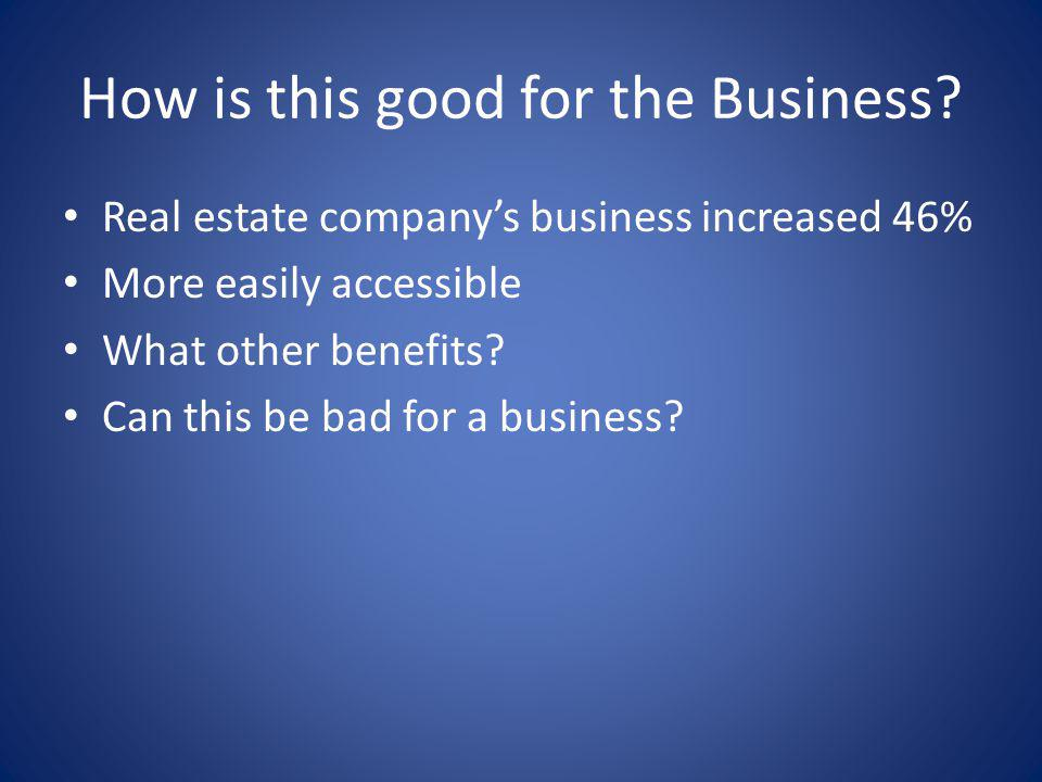 How is this good for the Business? Real estate companys business increased 46% More easily accessible What other benefits? Can this be bad for a busin