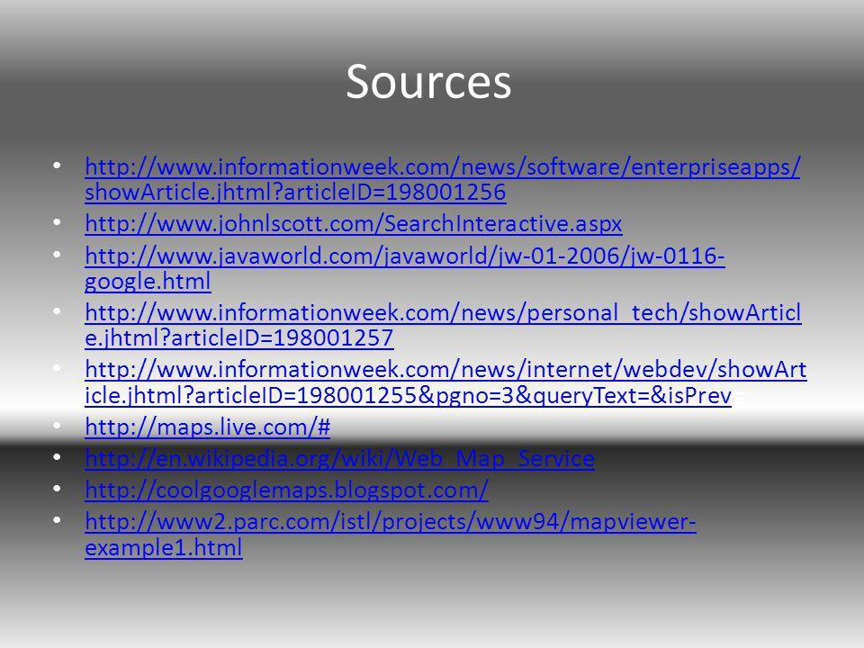 Sources http://www.informationweek.com/news/software/enterpriseapps/ showArticle.jhtml articleID=198001256 http://www.informationweek.com/news/software/enterpriseapps/ showArticle.jhtml articleID=198001256 http://www.johnlscott.com/SearchInteractive.aspx http://www.javaworld.com/javaworld/jw-01-2006/jw-0116- google.html http://www.javaworld.com/javaworld/jw-01-2006/jw-0116- google.html http://www.informationweek.com/news/personal_tech/showArticl e.jhtml articleID=198001257 http://www.informationweek.com/news/personal_tech/showArticl e.jhtml articleID=198001257 http://www.informationweek.com/news/internet/webdev/showArt icle.jhtml articleID=198001255&pgno=3&queryText=&isPrev= http://www.informationweek.com/news/internet/webdev/showArt icle.jhtml articleID=198001255&pgno=3&queryText=&isPrev http://maps.live.com/# http://en.wikipedia.org/wiki/Web_Map_Service http://coolgooglemaps.blogspot.com/ http://www2.parc.com/istl/projects/www94/mapviewer- example1.html http://www2.parc.com/istl/projects/www94/mapviewer- example1.html