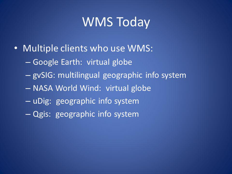 WMS Today Multiple clients who use WMS: – Google Earth: virtual globe – gvSIG: multilingual geographic info system – NASA World Wind: virtual globe –