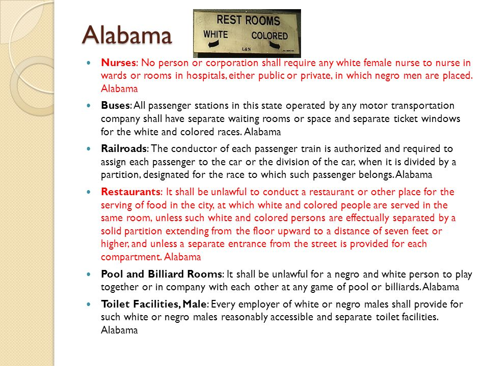 Alabama Nurses: No person or corporation shall require any white female nurse to nurse in wards or rooms in hospitals, either public or private, in wh