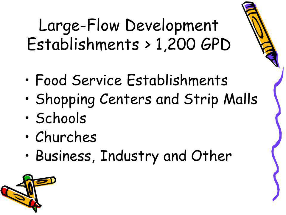 Large-Flow Development Residential > 1,200 GPD Subdivisions Bond for Title Sale of Land Strip Development Condominiums, Town Houses and Apartments Mobile Home Parks and Campgrounds Multi-Family Dwellings