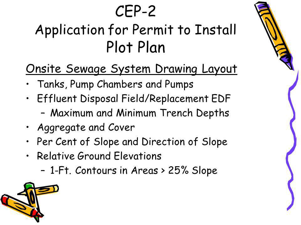 CEP-2 Application for Permit to Install Plot Plan –Lot Dimensions, Size –Locations/Descriptions: Structures Underground Utility Lines Surface Water/Drainage Features/Slopes Dumps, Mining Areas, Caves, Sinkholes, etc.