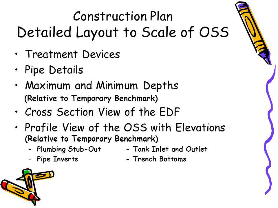 Construction Plan for All Engineered Systems Temporary Bench Mark - Location & Elevation Lot elevations and One-ft.