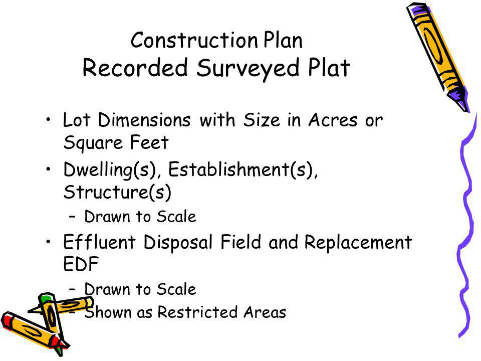 Construction Plan System Design Calculations and Engineering Specifications Calculations Tank Sizes EDF Sizes Pumps Pipe Sizes Specifications Materials Pump Details Electrical Connections Methods of Construction Engineering Inspection Schedules Operation & Maintenance Procedures