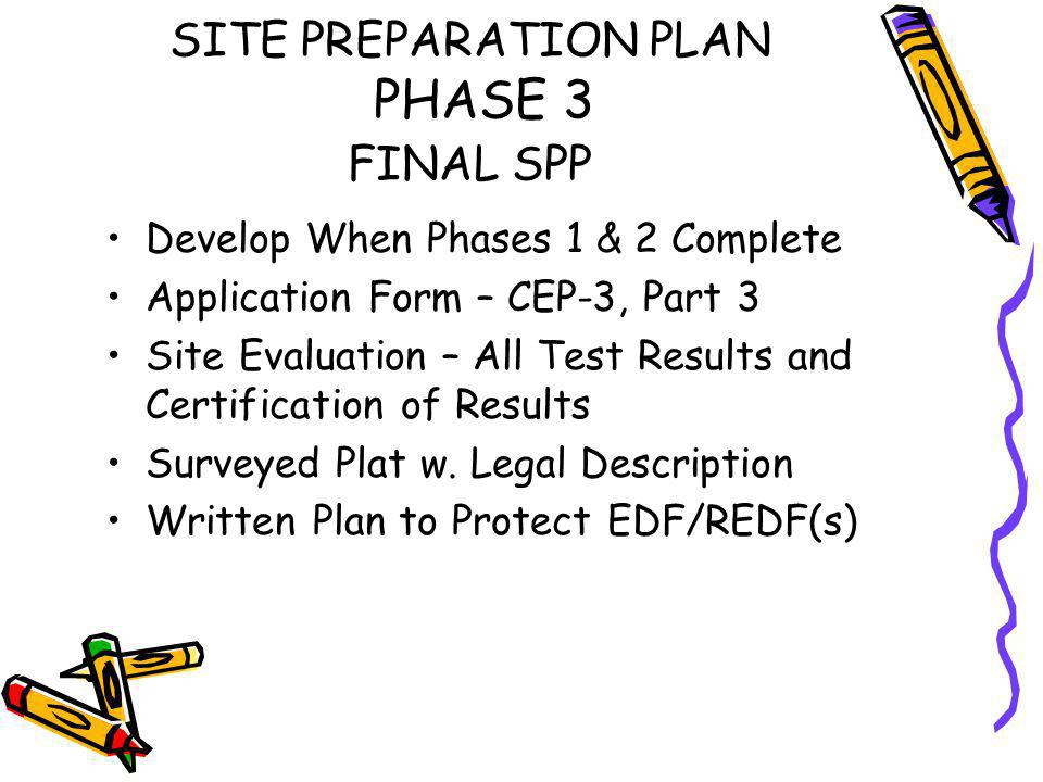 SPP PHASE 2 DISCUSSION ITEMS Non-Agreement re: Site Evaluation & Field Investigation –Additional testing / evaluation –PSC visiting / mapping site –Other professional evaluation