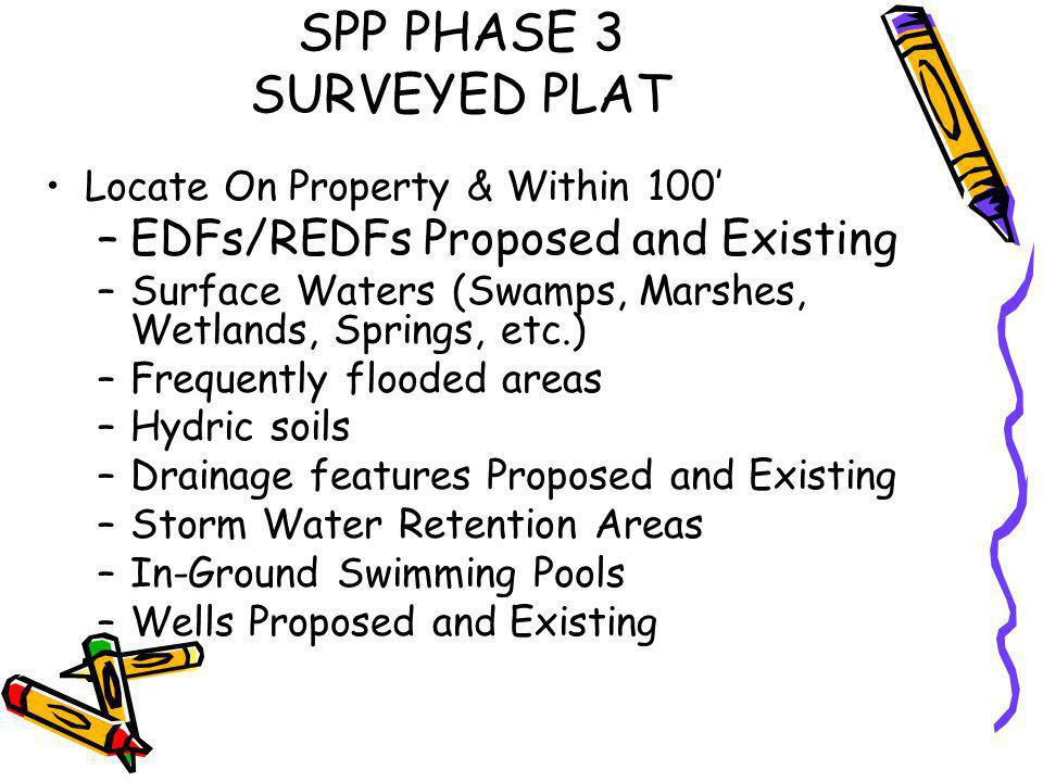 SPP PHASE 3 - SURVEYED PLAT (Not Specifically in Rules but Needed) Underground Utility Lines Easement Areas Lot Sizes Not Including Easements Such as Water Storage Easements