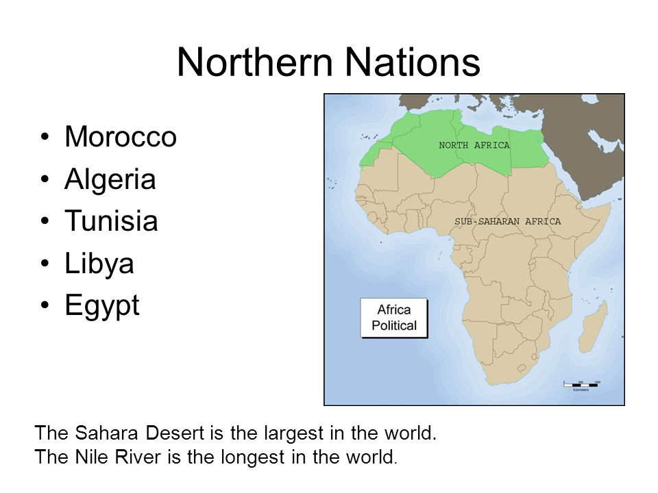 Northern Nations Morocco Algeria Tunisia Libya Egypt The Sahara Desert is the largest in the world. The Nile River is the longest in the world.