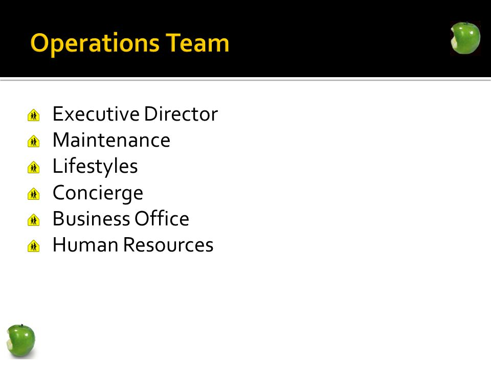 Executive Director Maintenance Lifestyles Concierge Business Office Human Resources
