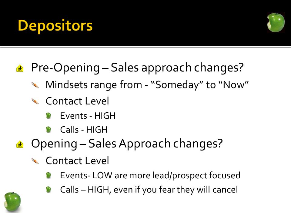 Pre-Opening – Sales approach changes? Mindsets range from - Someday to Now Contact Level Events - HIGH Calls - HIGH Opening – Sales Approach changes?