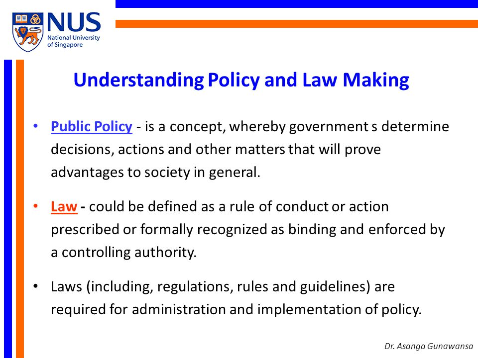 Understanding Policy and Law Making Public Policy - is a concept, whereby government s determine decisions, actions and other matters that will prove