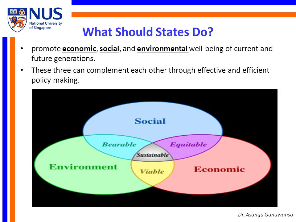 What Should States Do? promote economic, social, and environmental well-being of current and future generations. These three can complement each other