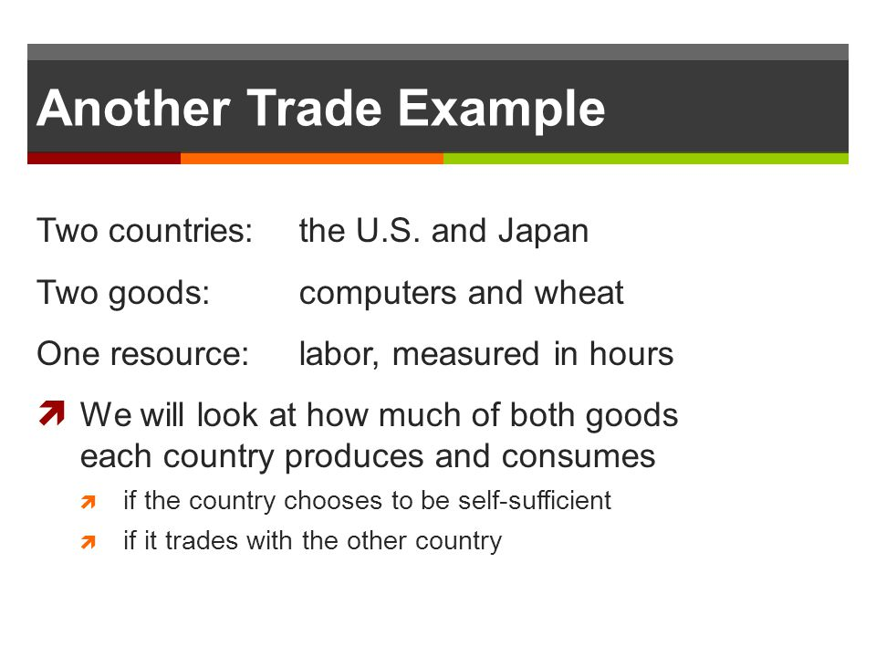 Another Trade Example Two countries: the U.S. and Japan Two goods: computers and wheat One resource: labor, measured in hours We will look at how much