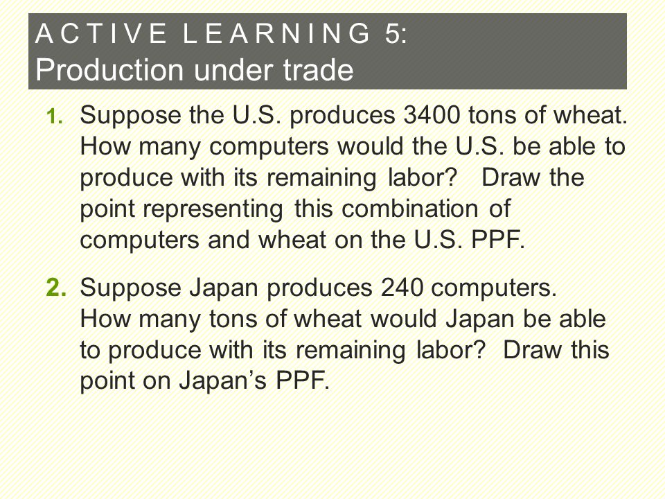 A C T I V E L E A R N I N G 5 : Production under trade 1. Suppose the U.S. produces 3400 tons of wheat. How many computers would the U.S. be able to p