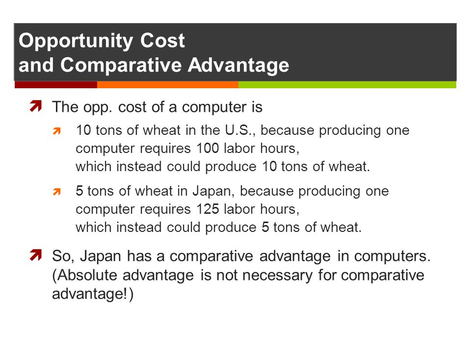Opportunity Cost and Comparative Advantage The opp. cost of a computer is 10 tons of wheat in the U.S., because producing one computer requires 100 la