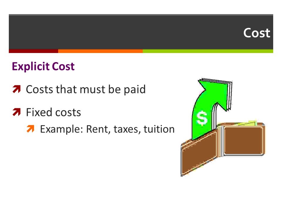 Cost Explicit Cost Costs that must be paid Fixed costs Example: Rent, taxes, tuition