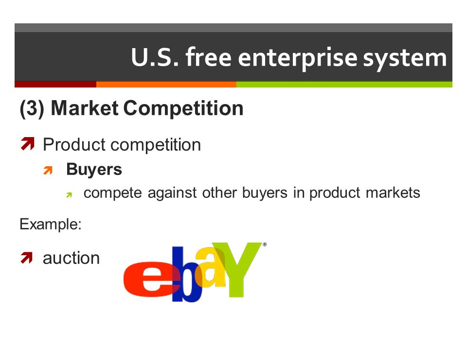 U.S. free enterprise system (3) Market Competition Product competition Buyers compete against other buyers in product markets Example: auction