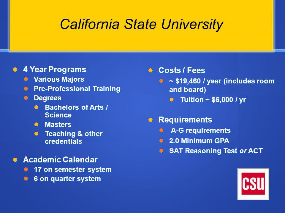 Resources Start visiting college campuses Check with your counselor to make sure you are fulfilling A-G requirements.
