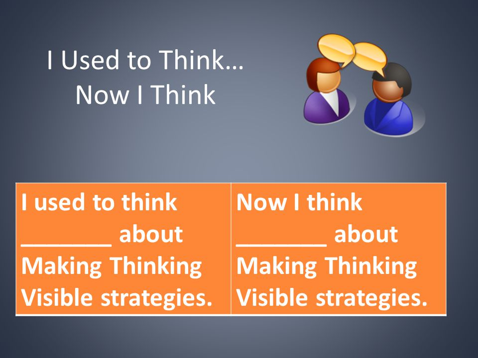 I Used to Think… Now I Think I used to think _______ about Making Thinking Visible strategies. Now I think _______ about Making Thinking Visible strat