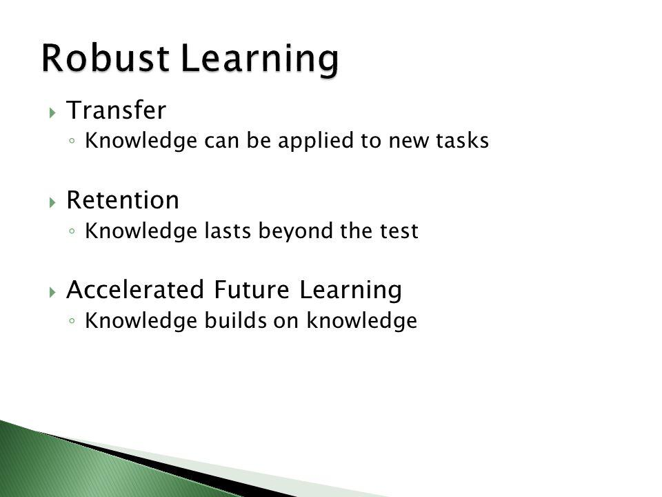 Transfer Knowledge can be applied to new tasks Retention Knowledge lasts beyond the test Accelerated Future Learning Knowledge builds on knowledge