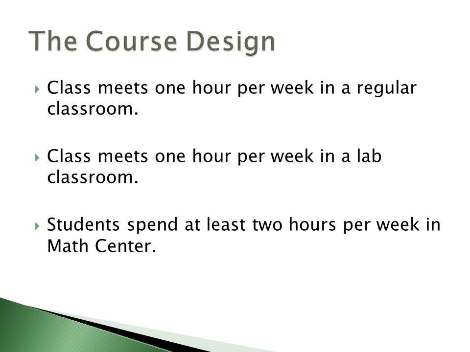 Class meets one hour per week in a regular classroom.