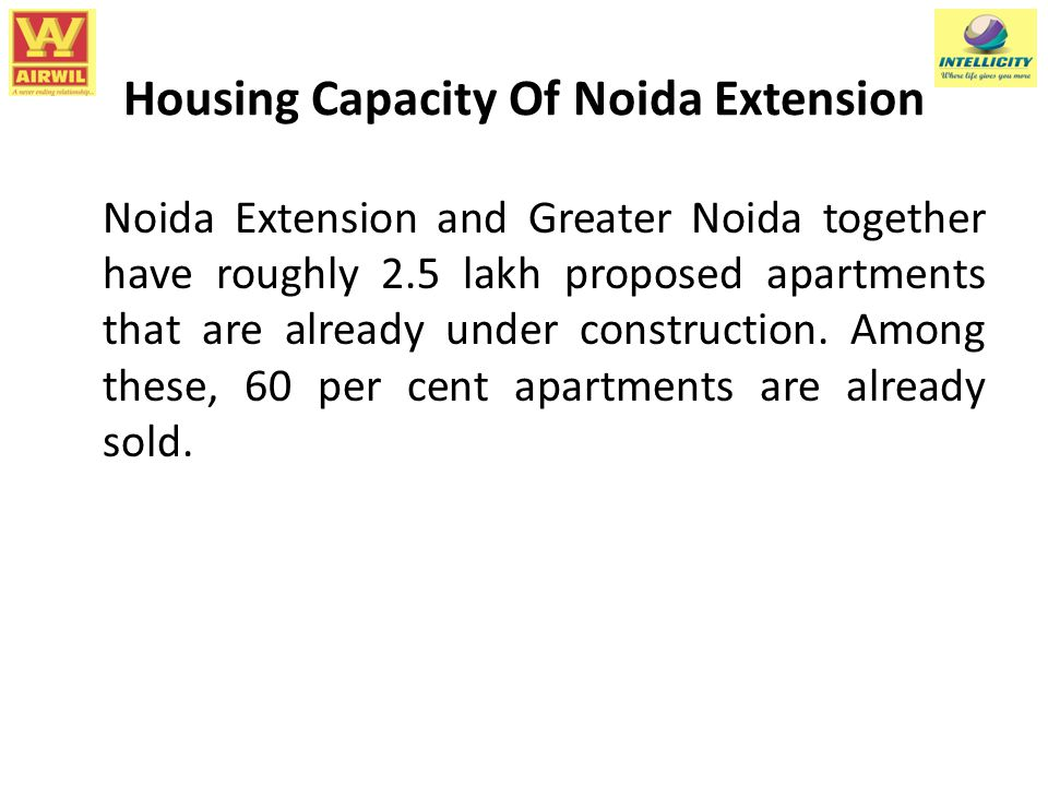 Housing Capacity Of Noida Extension Noida Extension and Greater Noida together have roughly 2.5 lakh proposed apartments that are already under construction.