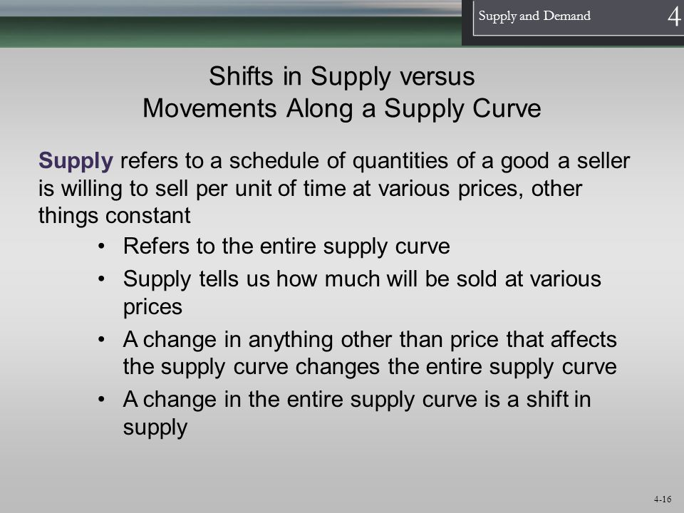 1 Supply and Demand 4 4-16 Shifts in Supply versus Movements Along a Supply Curve Supply refers to a schedule of quantities of a good a seller is will