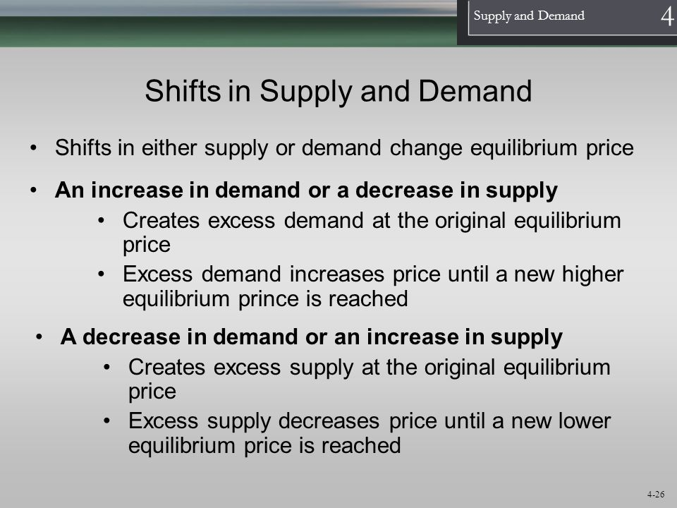1 Supply and Demand 4 4-26 Shifts in Supply and Demand Shifts in either supply or demand change equilibrium price An increase in demand or a decrease
