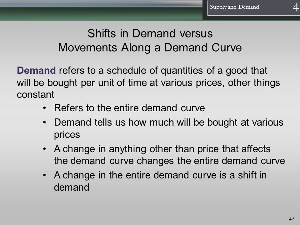 1 Supply and Demand 4 4-16 Shifts in Supply versus Movements Along a Supply Curve Supply refers to a schedule of quantities of a good a seller is willing to sell per unit of time at various prices, other things constant Refers to the entire supply curve Supply tells us how much will be sold at various prices A change in anything other than price that affects the supply curve changes the entire supply curve A change in the entire supply curve is a shift in supply