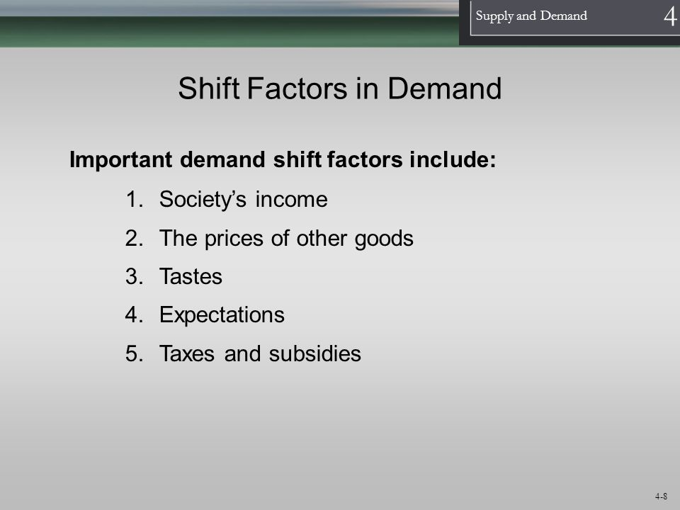 1 Supply and Demand 4 4-8 Shift Factors in Demand Important demand shift factors include: 1.Societys income 2.The prices of other goods 3.Tastes 4.Exp