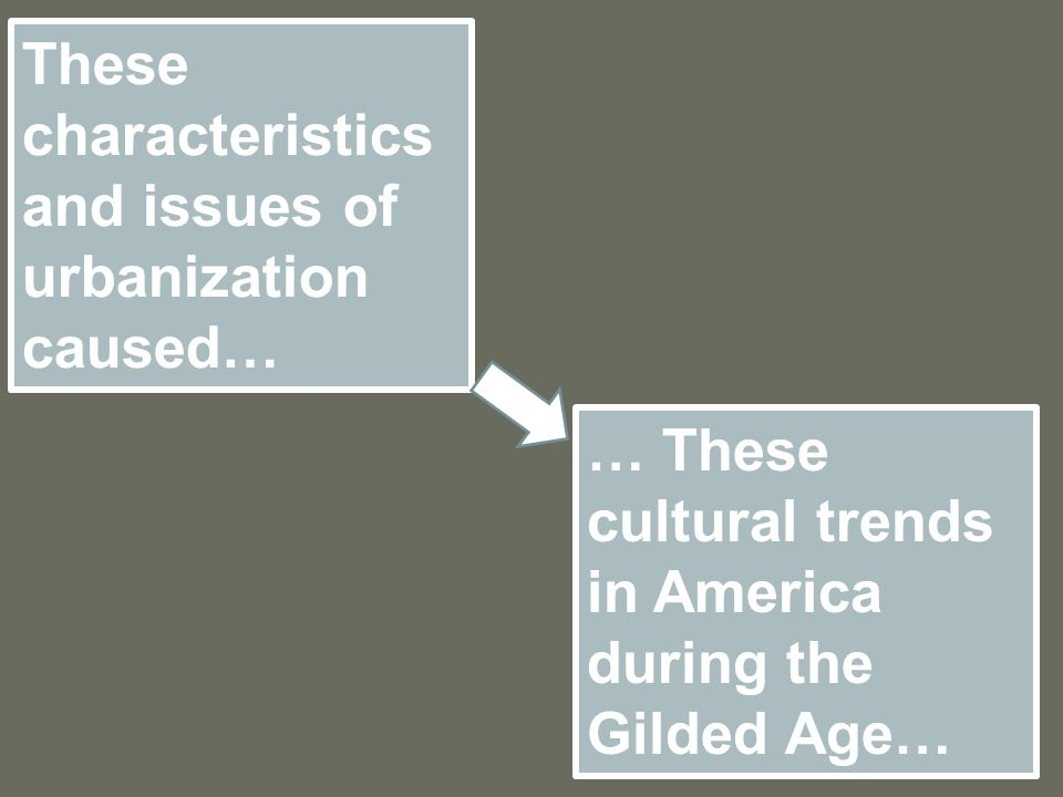 These characteristics and issues of urbanization caused… … These cultural trends in America during the Gilded Age…