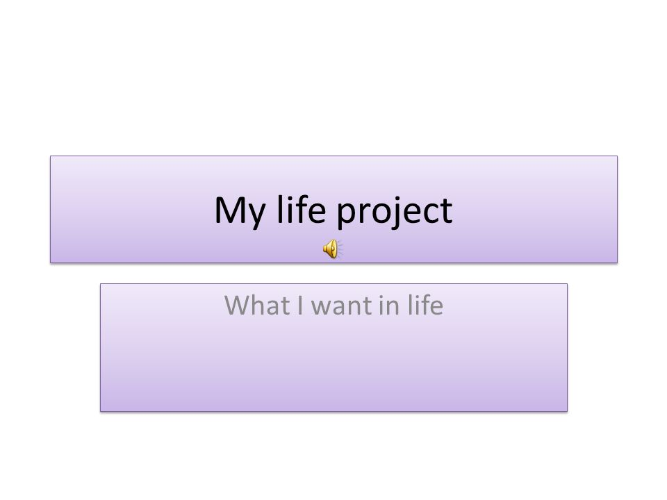 My life project What I want in life