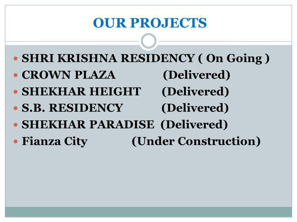 OUR PROJECTS SHRI KRISHNA RESIDENCY ( On Going ) CROWN PLAZA (Delivered) SHEKHAR HEIGHT (Delivered) S.B.