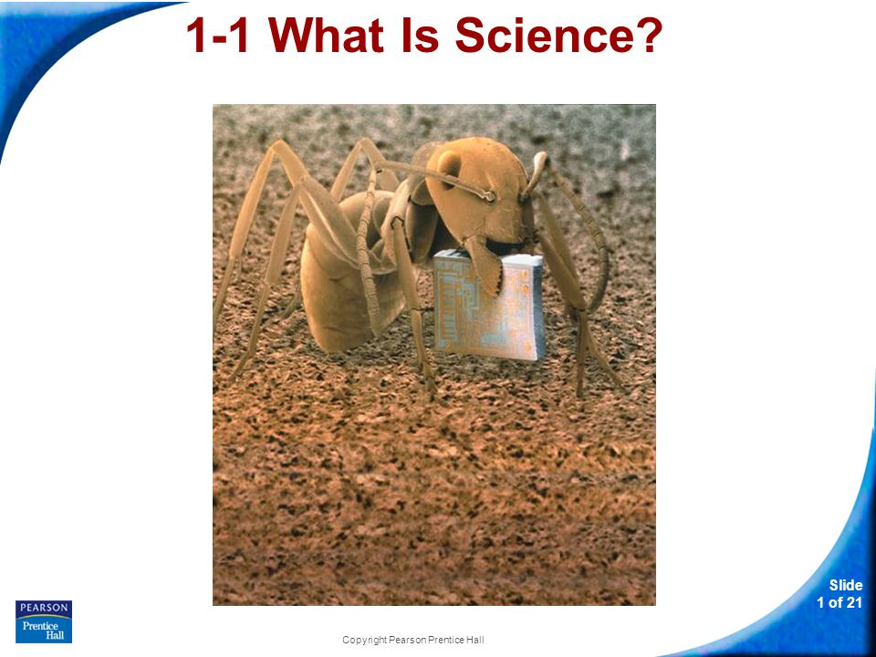 Slide 1 of 21 Copyright Pearson Prentice Hall 1-1 What Is Science?