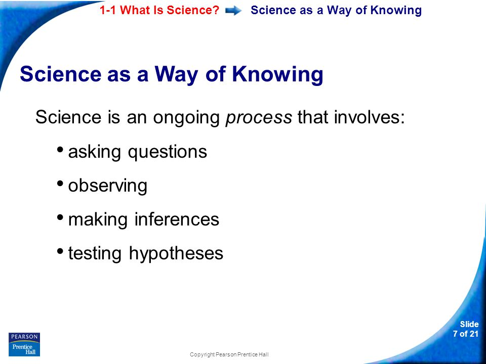 1-1 What Is Science? Slide 7 of 21 Copyright Pearson Prentice Hall Science as a Way of Knowing Science is an ongoing process that involves: asking que