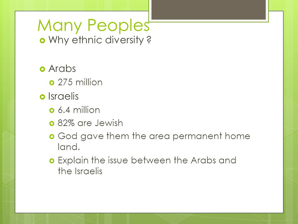Many Peoples Why ethnic diversity ? Arabs 275 million Israelis 6.4 million 82% are Jewish God gave them the area permanent home land. Explain the issu