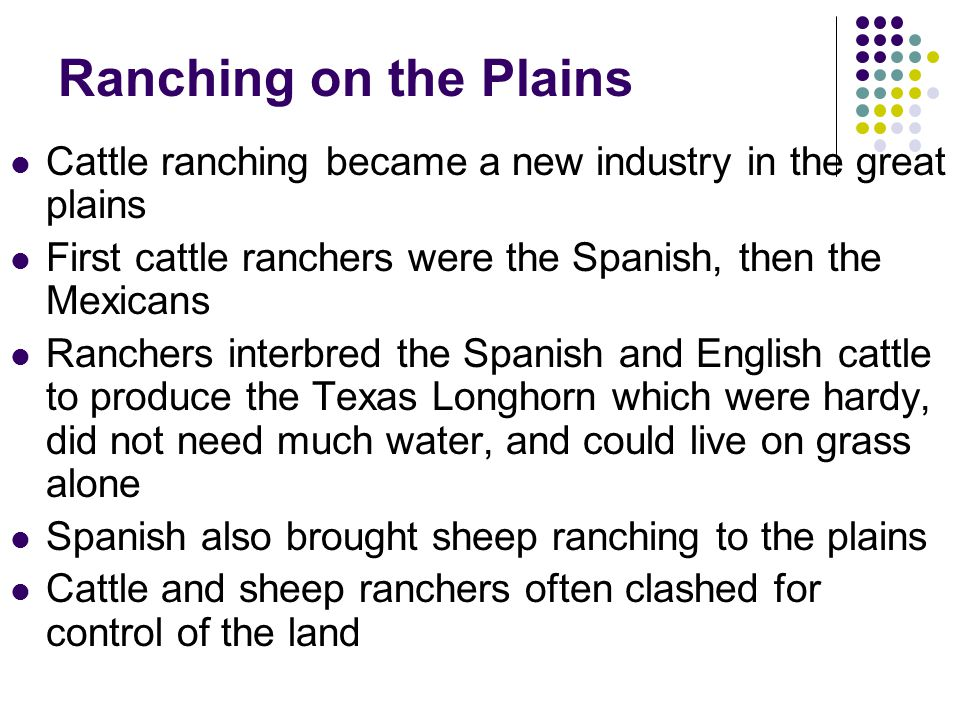 Ranching on the Plains Cattle ranching became a new industry in the great plains First cattle ranchers were the Spanish, then the Mexicans Ranchers in