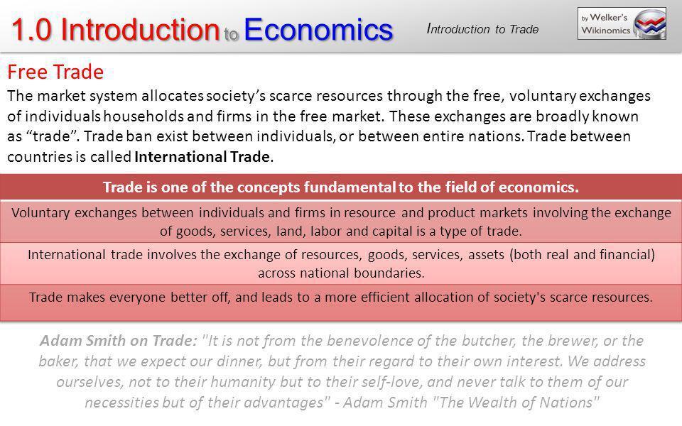 1.0 Introduction to Economics Adam Smith on Trade: