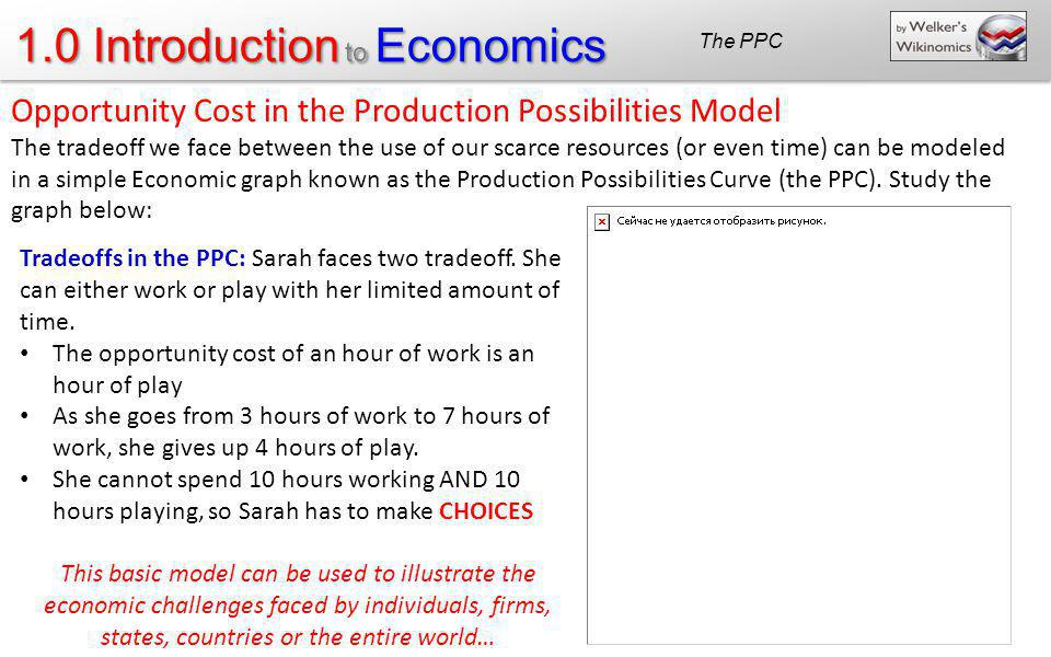 1.0 Introduction to Economics Opportunity Cost in the Production Possibilities Model The tradeoff we face between the use of our scarce resources (or