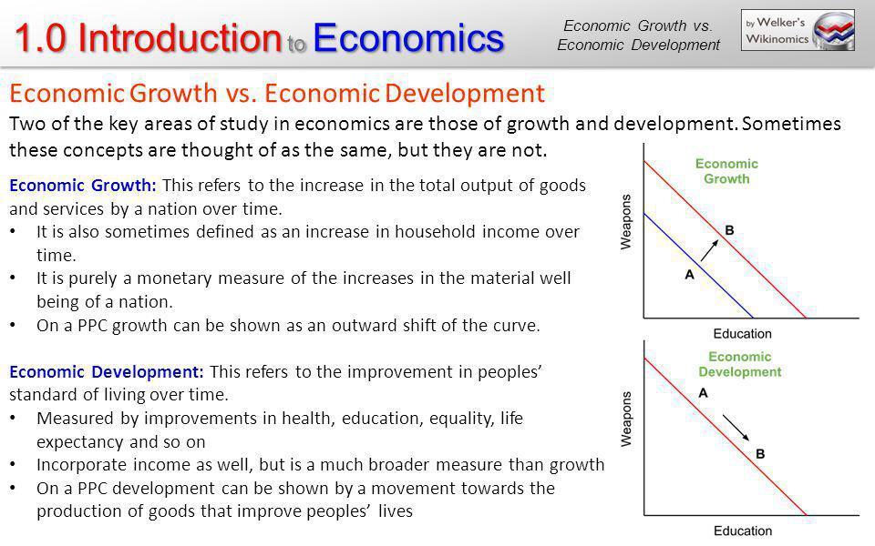 1.0 Introduction to Economics Economic Growth vs. Economic Development Two of the key areas of study in economics are those of growth and development.
