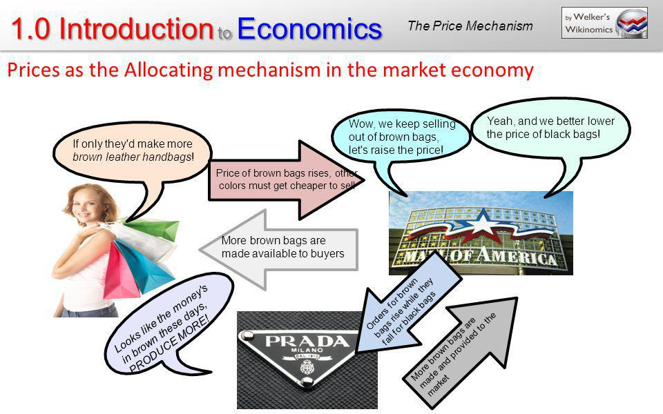 1.0 Introduction to Economics If only they'd make more brown leather handbags! Price of brown bags rises, other colors must get cheaper to sell More b