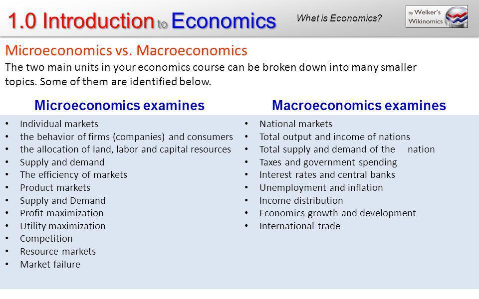 1.0 Introduction to Economics Microeconomics examinesMacroeconomics examines Individual markets the behavior of firms (companies) and consumers the al