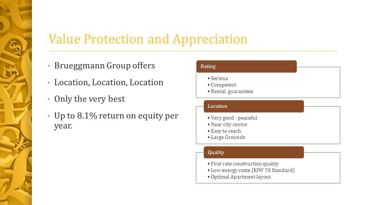 Value Protection and Appreciation Brueggmann Group offers Location, Location, Location Only the very best Up to 8.1% return on equity per year.