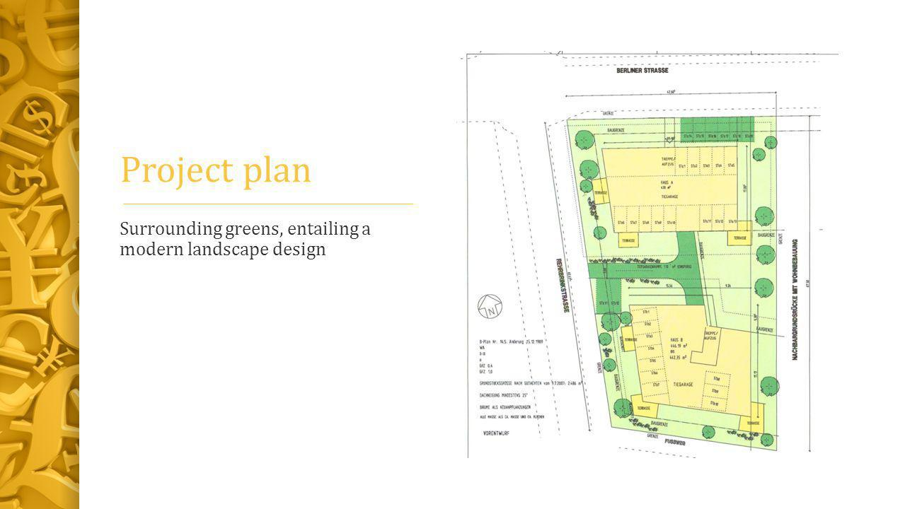 Project plan Surrounding greens, entailing a modern landscape design