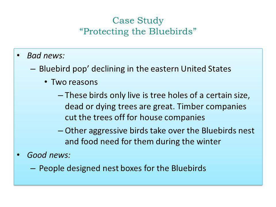 Case Study Protecting the Bluebirds Bad news: – Bluebird pop declining in the eastern United States Two reasons – These birds only live is tree holes of a certain size, dead or dying trees are great.