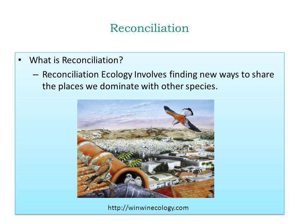Reconciliation What is Reconciliation? – Reconciliation Ecology Involves finding new ways to share the places we dominate with other species. What is
